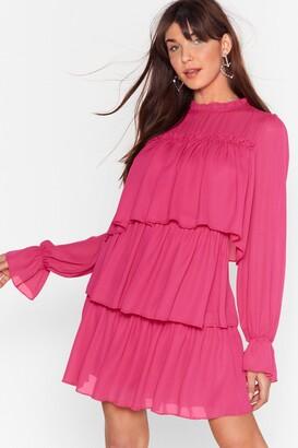 Nasty Gal Womens Tier Me Roar Ruffle Mini Dress - Hot Pink