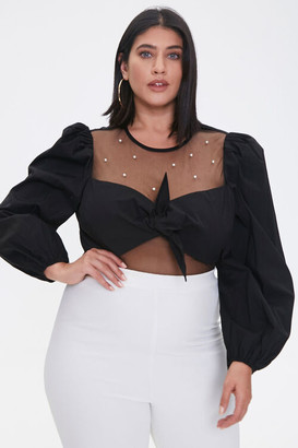 Forever 21 Plus Size Faux Pearl Knotted Crop Top