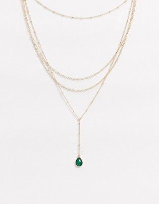 ASOS DESIGN multirow lariat necklace with dot dash chain and faux green stone pendant in gold tone