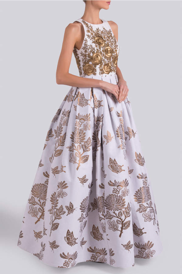 Andrew Gn Embroidered Floral Gown