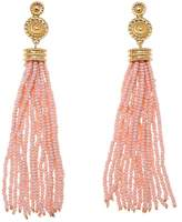 "RJ Graziano Tassel Time"" Goldtone Colored Bead Tassel Earrings"
