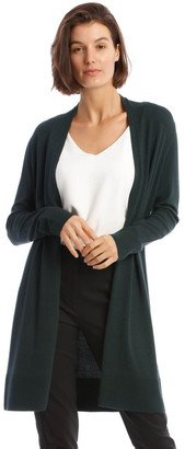 Basque Long-Line Cardigan In Dark Green With Ribbed Detail