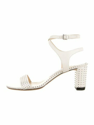 Jimmy Choo Leather Studded Accents Sandals White