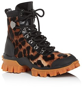Moncler Women's Helis Leopard-Print Calf Hair Hiking Boots