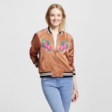 Mossimo Women's Embroidered Bomber Jacket Bronze
