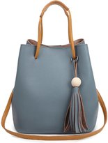 Myosotis510 Genuine Leather Drawstring Bucket Bag Purse with Ball Tassel