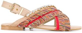 Emanuela Caruso Fringed Open-Toe Sandals