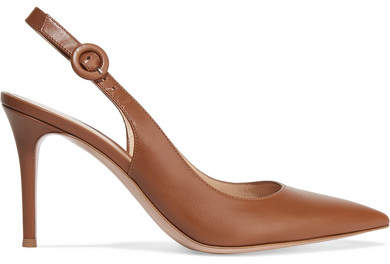 Gianvito Rossi Anna 85 Leather Slingback Pumps - Brown