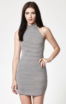 La Hearts Stripe Mock Neck Bodycon Dress
