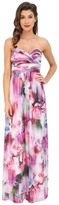 Aidan Mattox Strapless Printed Chiffon Gown with Shirrred Bust Detail