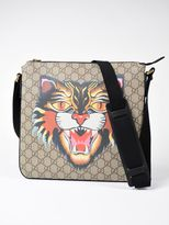Gucci Angry Cat Print Gg Supreme Flat Shoulder Bag