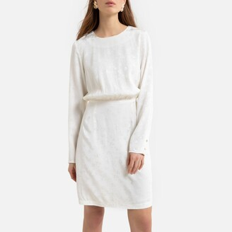 La Redoute Collections Shift Mini Dress in Satin Jacquard with Long Sleeves