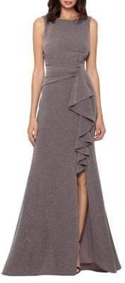 Betsy & Adam Metallic Ruffle Sleeveless Gown