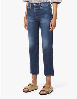 Frame Ladies Blue Cotton Le Nouveau High-Rise Straight-Leg Jeans, Size: 23