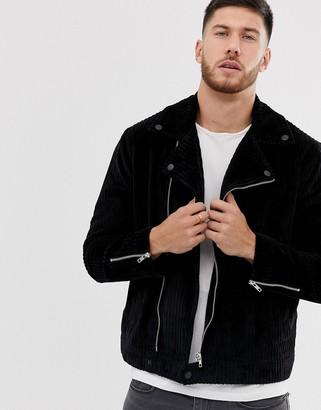 Asos Design DESIGN cord biker jacket in black-Gray