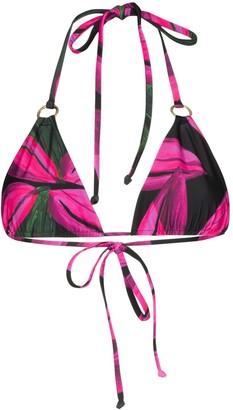 Louisa Ballou Floral Print Triangle Bikini Top