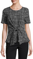 Casual Couture Short-Sleeve Crepe Tie-Front Top, Black Pattern