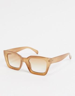 A. J. Morgan AJ Morgan square sunglasses with concave lens in crystal beige