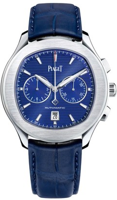 Piaget Polo Stainless Steel & Blue Alligator Strap Chronograph Watch