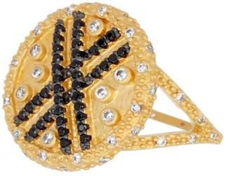 Freida Rothman 14K Gold Clad Sterling Silver Pave CZ Stripe Cocktail Ring