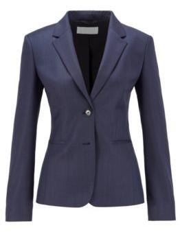 HUGO BOSS Regular Fit Jacket In Micro Patterned Virgin Wool - Patterned