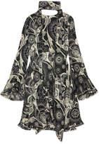 Chloé Printed Cotton And Silk-blend Crepon Mini Dress - Black
