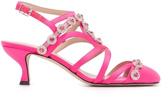 Christopher Kane Crystal-Embellished 60mm Satin Sandals