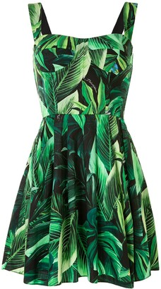 Dolce & Gabbana Tropical Leaf Pattern Cotton Short Bustier Dress