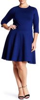 Leota Jewel Neck Ponte Fit & Flare Dress (Plus Size)