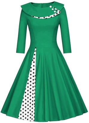 Axoe Womens 1950s Audrey Hepburn Vintage Dress with Polka Dots 3/4 Sleeve A-Line Green Size 8