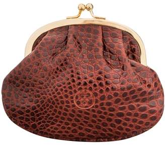 Maxwell Scott Bags Tan Crocodile Print Leather Ball Clasp Coin Purse