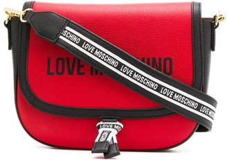 Love Moschino logo print stripe detail shoulder bag