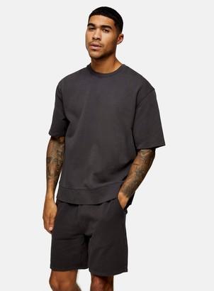 Topman Washed Black Short Sleeve Sweatshirt