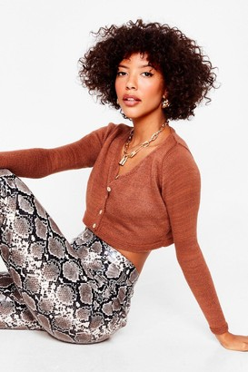 Nasty Gal Womens To Be or Knit to Be Cropped Cardigan - Rust