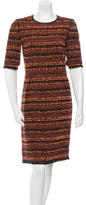 Mulberry Tweed Leather-Trimmed Dress