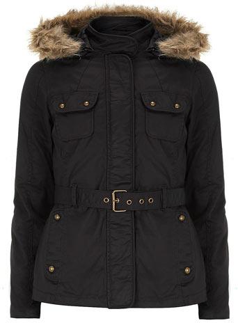 Dorothy Perkins Navy wax coated hooded jacket
