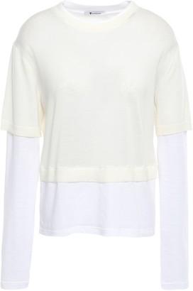 Alexander Wang Layered Merino Wool And Cotton-blend Sweater
