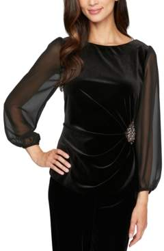 Alex Evenings Petite Velvet Embellished Blouse