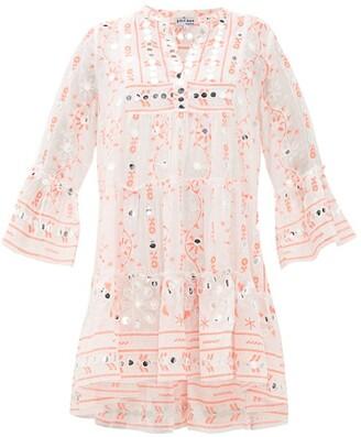 Juliet Dunn Nomad Mirror-work Cotton Dress - Red White
