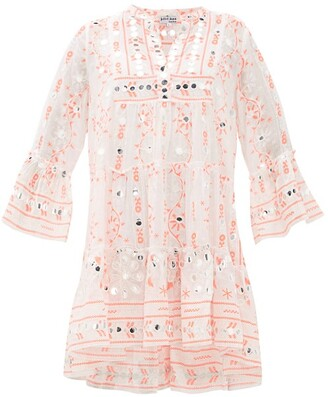 Juliet Dunn Nomad Mirror-work Cotton Dress - Womens - Red White