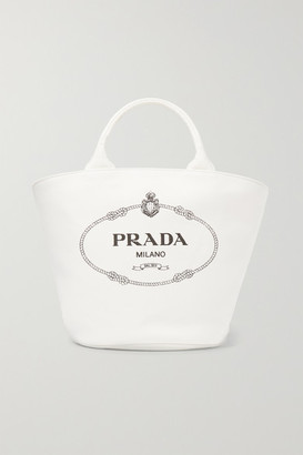 Prada Leather-trimmed Printed Cotton-canvas Tote - White