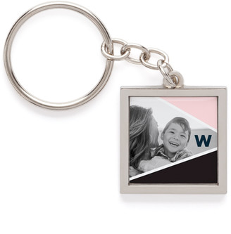Shutterfly Colorblock Monogram Collage Pewter Key Ring, ,Adult Unisex
