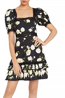 Alice + Olivia Wylie Puff-Sleeve Mini Dress