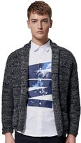 SK Studio Men's Solid Color Pockets Open Sweater Cardigan