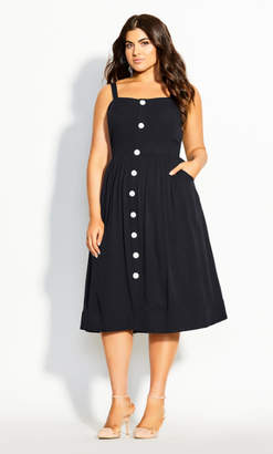 City Chic Button Grace Dress - black