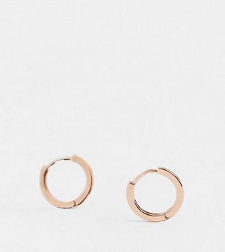 Orelia Exclusive huggie hoop earrings in gold plate rose plate