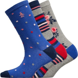 Original Penguin Womens Three Pack Socks Floral/Grey/Blue/Red