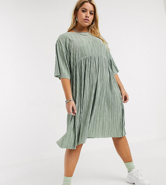 Another Reason Plus plisse babydoll dress with tie up back detail