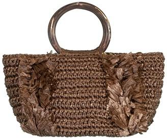 Carolina Santo Domingo Coco Corallina Raffia Top Handle Bag