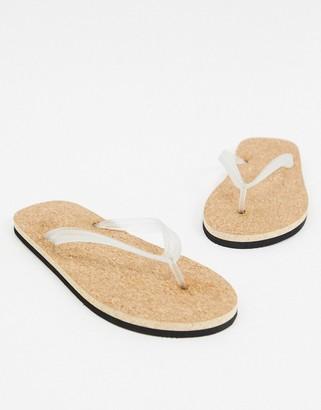 ASOS DESIGN flip flops with cork sole